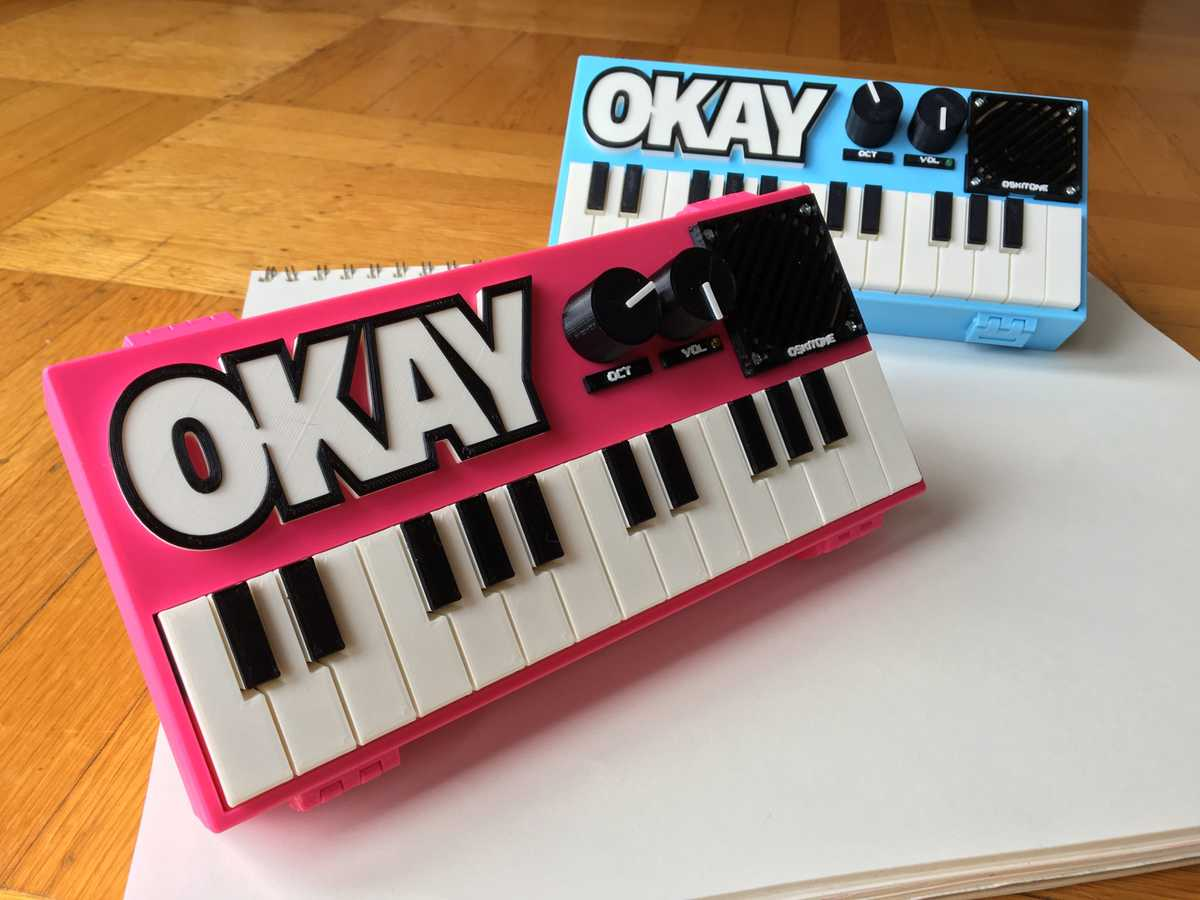 Oskitone OKAY 2 Synth in Hot Pink and Aqua Blue